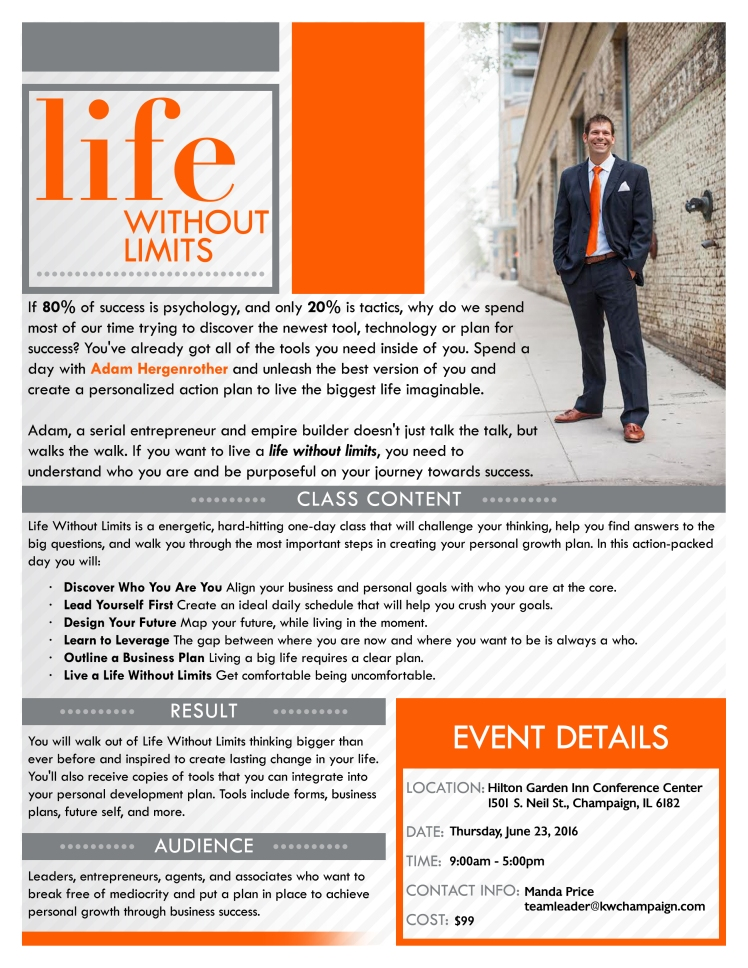 Life Without Limits Flyer - IL June 23, 2016